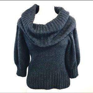Mango grey  wool angora poly half sleeve sweater L